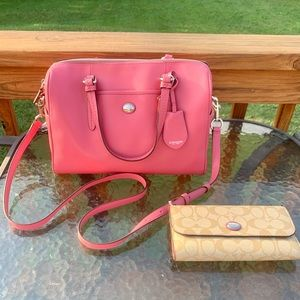 NWOT Coach Peyton Saffiano Domed Satchel & Wallet